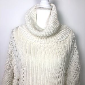 Tahari Knitted Cowl Sweater cream White Medium